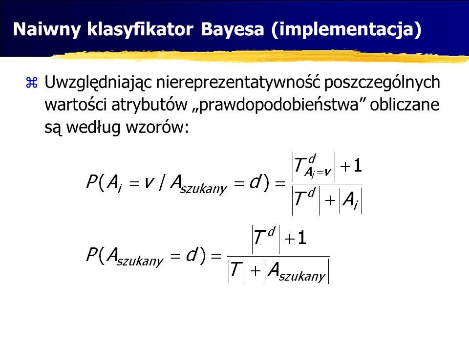 Naiwny klasyfikator Bayesa (implementacja) Uwzględniając niereprezentatywność poszczególnych wartości atrybutów prawdopodobieństwa obliczane są według