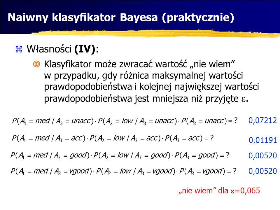 0,00520 Naiwny klasyfikator Bayesa (praktycznie) Własności (IV): Klasyfikator może zwracać wartość nie wiem w przypadku, gdy różnica maksymalnej warto