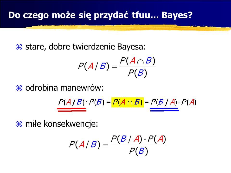 Do czego może się przydać tfuu... Bayes? stare, dobre twierdzenie Bayesa: odrobina manewrów: miłe konsekwencje: