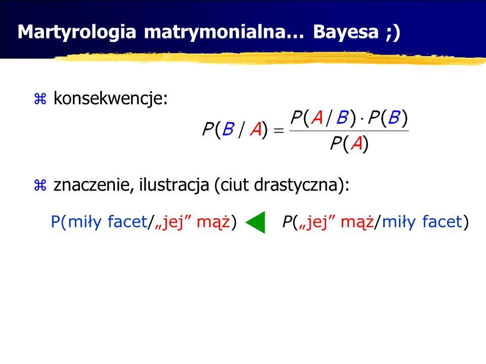 Martyrologia matrymonialna… Bayesa ;) konsekwencje: znaczenie, ilustracja (ciut drastyczna): P(jej mąż/miły facet)P(miły facet/jej mąż)