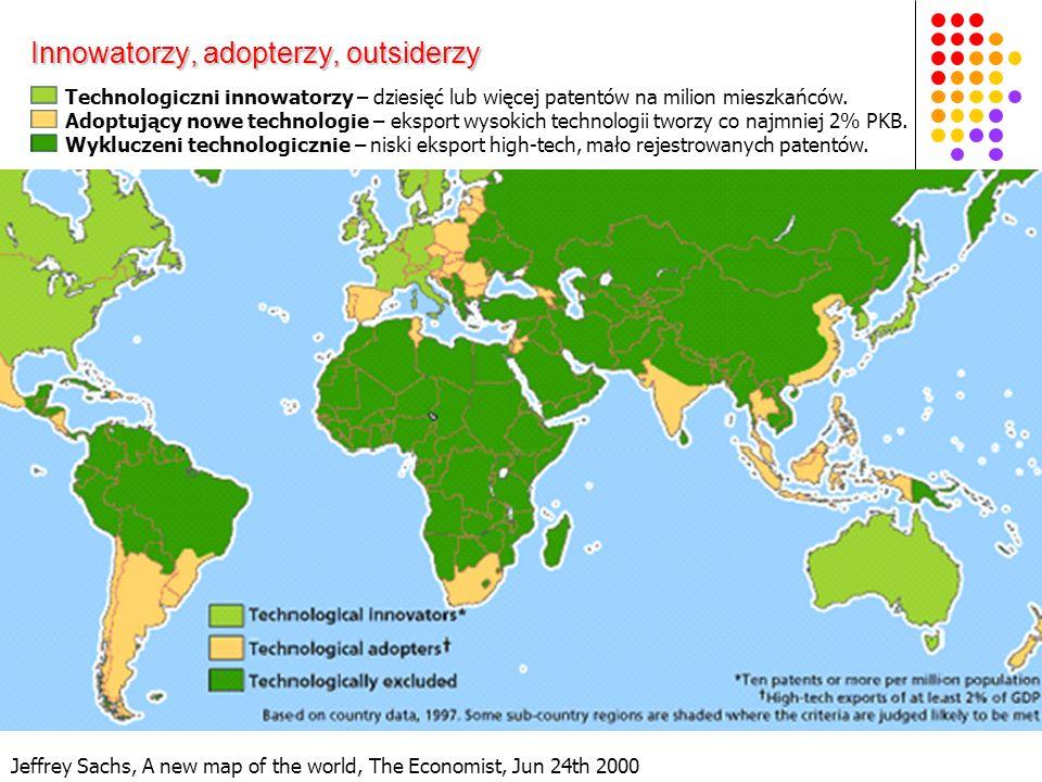 Jeffrey Sachs, A new map of the world, The Economist, Jun 24th 2000 Innowatorzy, adopterzy, outsiderzy Technologiczni innowatorzy – dziesięć lub więcej patentów na milion mieszkańców.