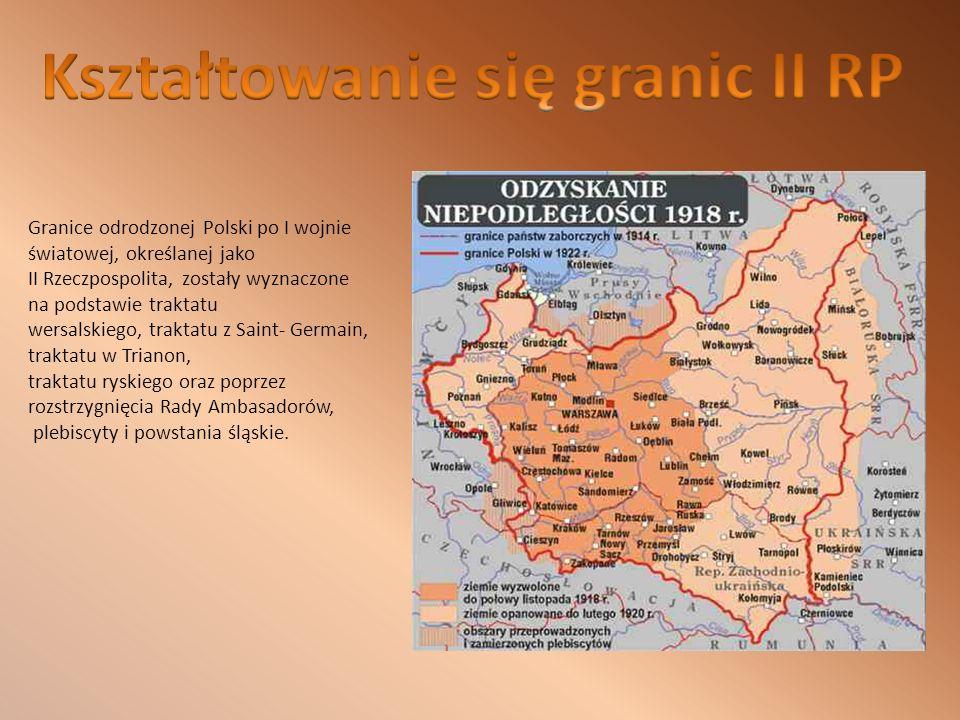 Granice odrodzonej Polski po I wojnie światowej, określanej jako II Rzeczpospolita, zostały wyznaczone na podstawie traktatu wersalskiego, traktatu z Saint- Germain, traktatu w Trianon, traktatu ryskiego oraz poprzez rozstrzygnięcia Rady Ambasadorów, plebiscyty i powstania śląskie.