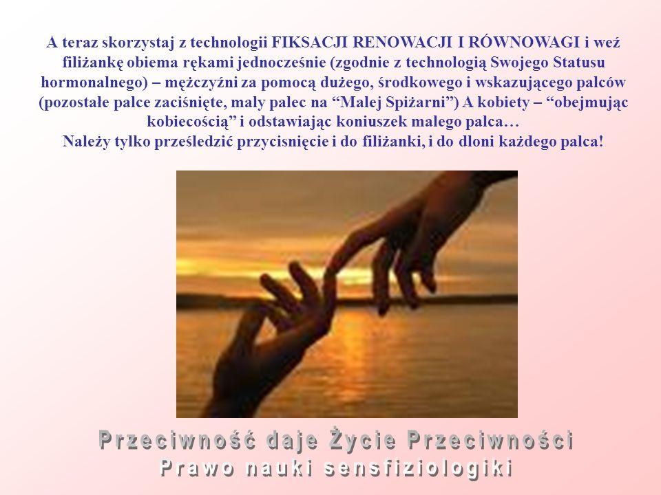 А teraz skorzystaj z technologii FIKSACJI RENOWACJI I RÓWNOWAGI i weź filiżankę obiema rękami jednocześnie (zgodnie z technologią Swojego Statusu horm