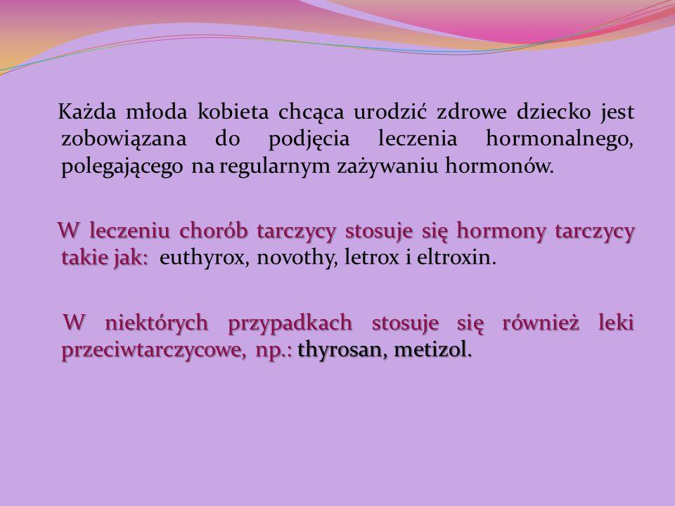Każda młoda kobieta chcąca urodzić zdrowe dziecko jest zobowiązana do podjęcia leczenia hormonalnego, polegającego na regularnym zażywaniu hormonów. W