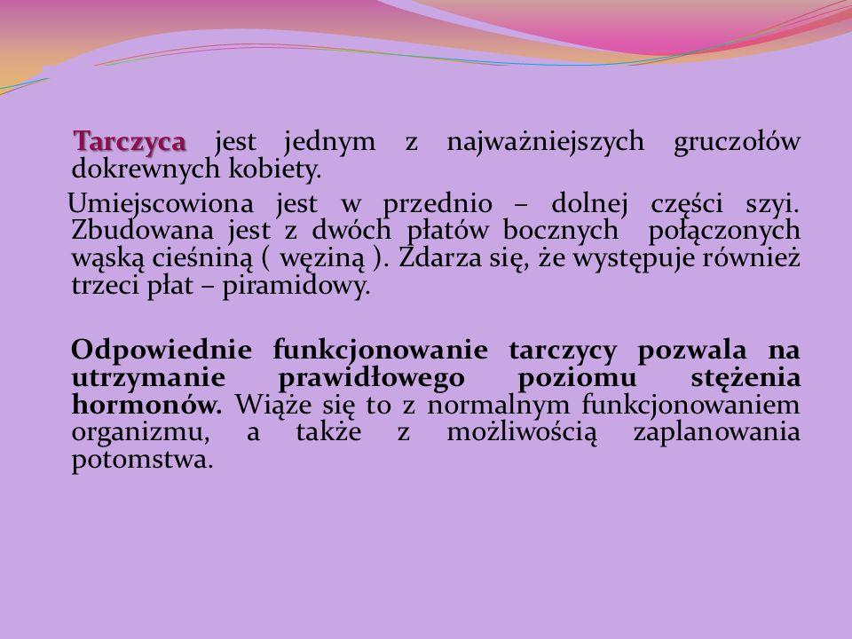 Tarczyca Tarczyca jest jednym z najważniejszych gruczołów dokrewnych kobiety. Umiejscowiona jest w przednio – dolnej części szyi. Zbudowana jest z dwó