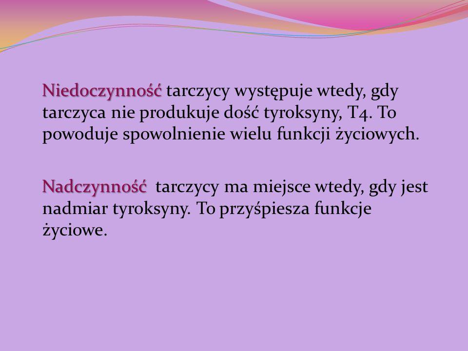 Niedoczynność Niedoczynność tarczycy występuje wtedy, gdy tarczyca nie produkuje dość tyroksyny, T4. To powoduje spowolnienie wielu funkcji życiowych.
