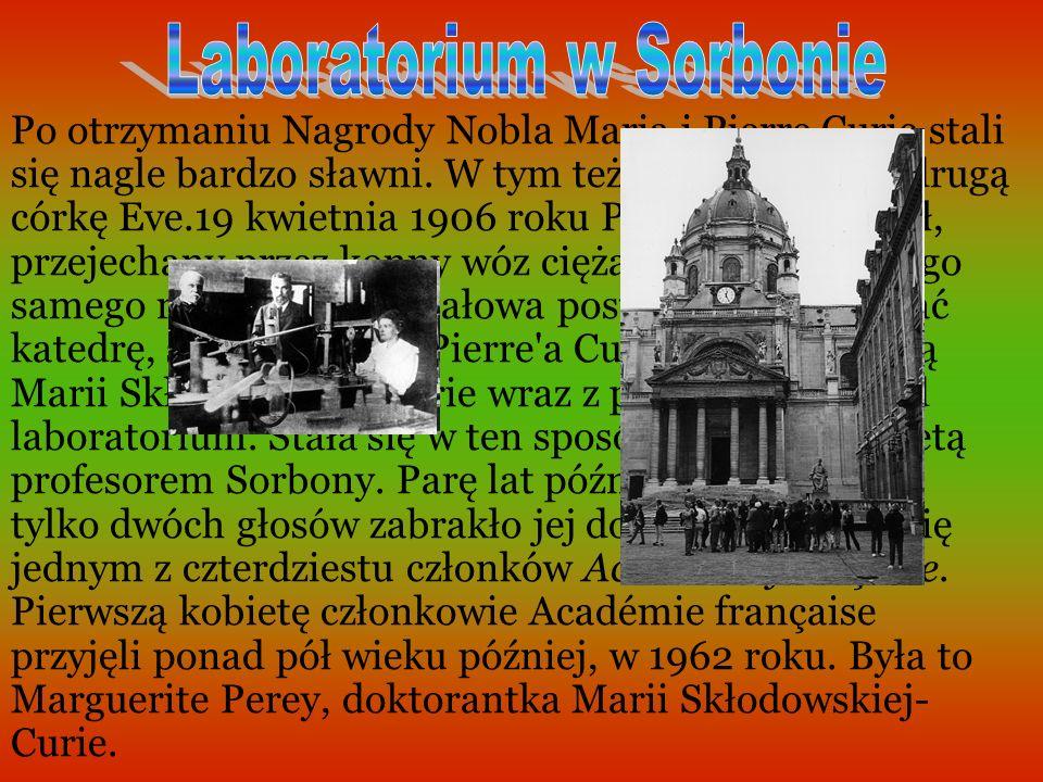 Po otrzymaniu Nagrody Nobla Maria i Pierre Curie stali się nagle bardzo sławni.