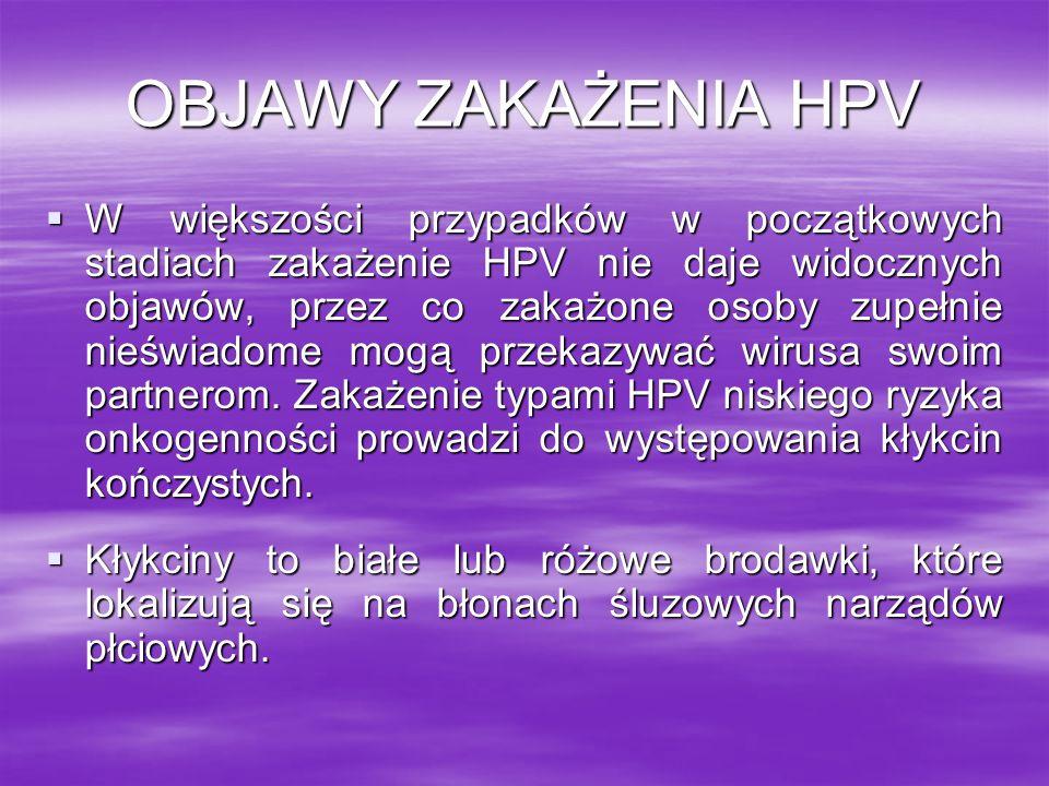 OBJAWY ZAKAŻENIA HPV W większości przypadków w początkowych stadiach zakażenie HPV nie daje widocznych objawów, przez co zakażone osoby zupełnie nieśw