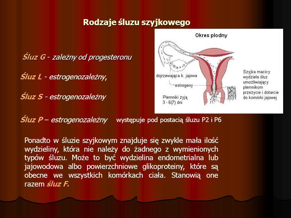 Rodzaje śluzu szyjkowego Śluz G - zależny od progesteronu Śluz G - zależny od progesteronu Śluz L - estrogenozależny, Śluz S - estrogenozależny Śluz P