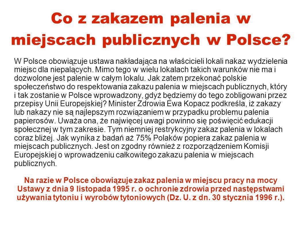 Co z zakazem palenia w miejscach publicznych w Polsce? W Polsce obowiązuje ustawa nakładająca na właścicieli lokali nakaz wydzielenia miejsc dla niepa