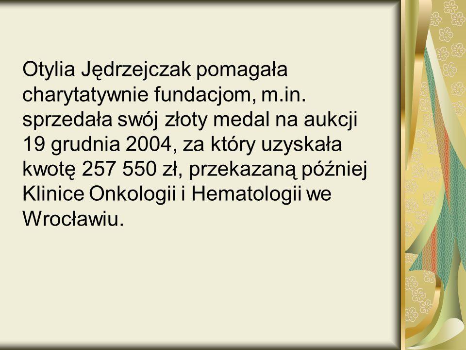 Otylia Jędrzejczak pomagała charytatywnie fundacjom, m.in.