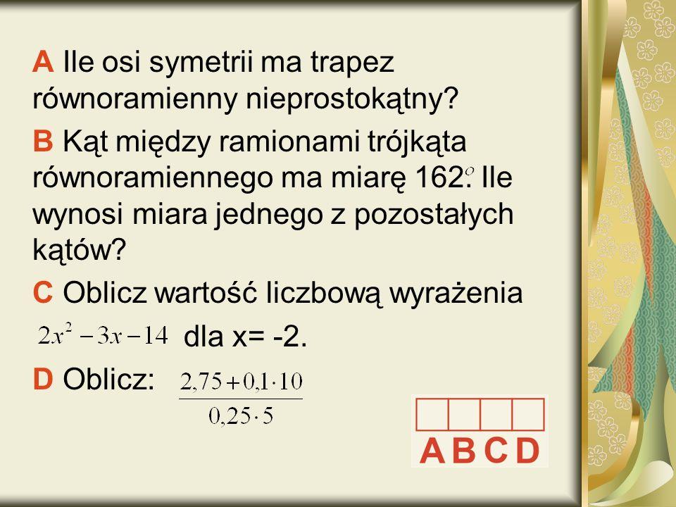 A Ile osi symetrii ma trapez równoramienny nieprostokątny.