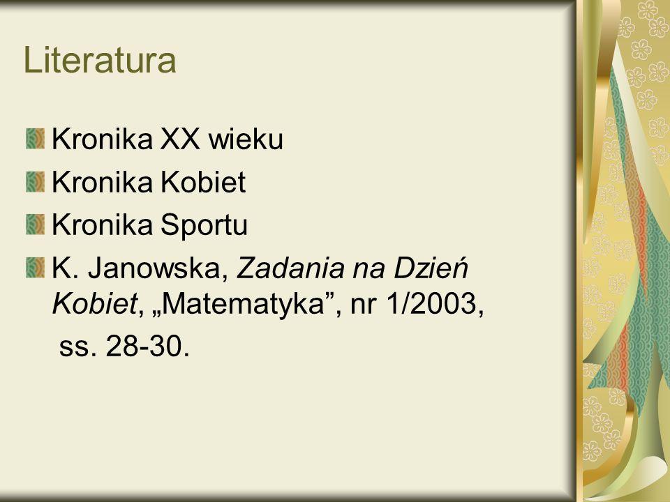 Literatura Kronika XX wieku Kronika Kobiet Kronika Sportu K.