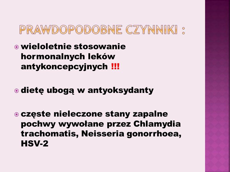 wieloletnie stosowanie hormonalnych leków antykoncepcyjnych !!.