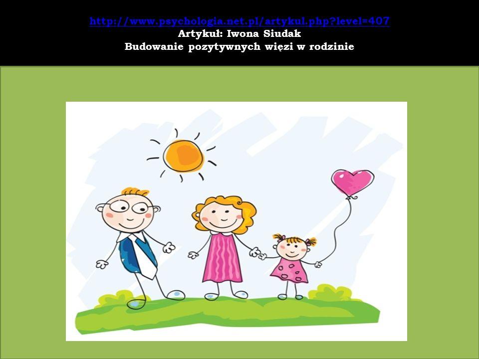 http://www.psychologia.net.pl/artykul.php?level=407 http://www.psychologia.net.pl/artykul.php?level=407 Artykuł: Iwona Siudak Budowanie pozytywnych wi