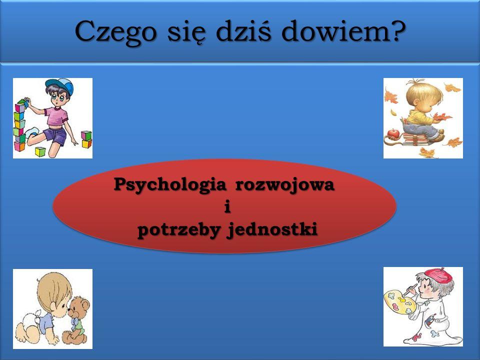 Czego się dziś dowiem? Psychologia rozwojowa i potrzeby jednostki potrzeby jednostki Psychologia rozwojowa i potrzeby jednostki potrzeby jednostki