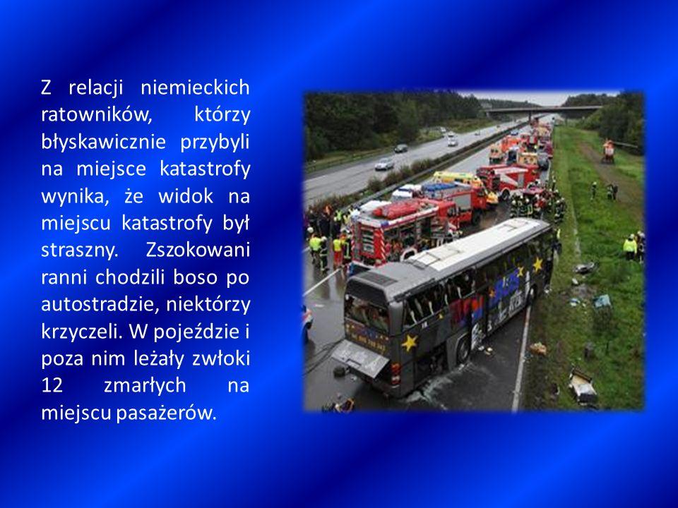 Z relacji niemieckich ratowników, którzy błyskawicznie przybyli na miejsce katastrofy wynika, że widok na miejscu katastrofy był straszny. Zszokowani