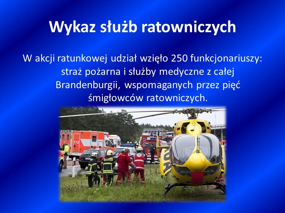 Wykaz służb ratowniczych W akcji ratunkowej udział wzięło 250 funkcjonariuszy: straż pożarna i służby medyczne z całej Brandenburgii, wspomaganych prz
