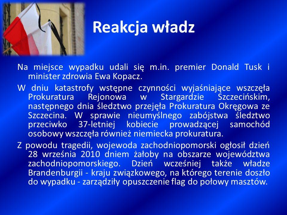 Reakcja władz Na miejsce wypadku udali się m.in. premier Donald Tusk i minister zdrowia Ewa Kopacz. W dniu katastrofy wstępne czynności wyjaśniające w