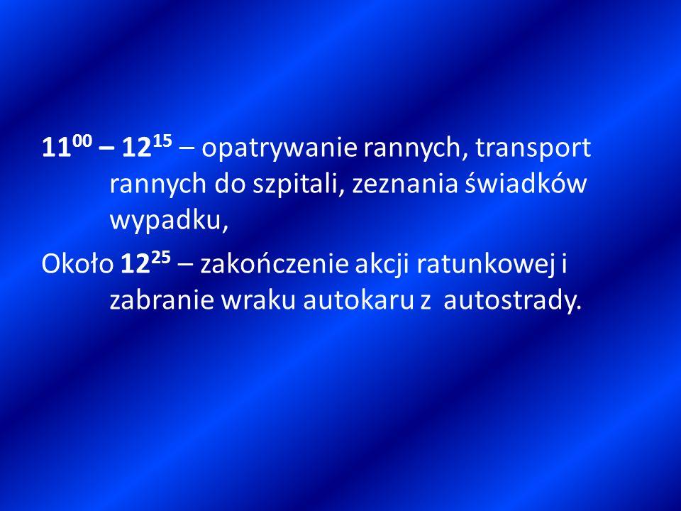 11 00 – 12 15 – opatrywanie rannych, transport rannych do szpitali, zeznania świadków wypadku, Około 12 25 – zakończenie akcji ratunkowej i zabranie w