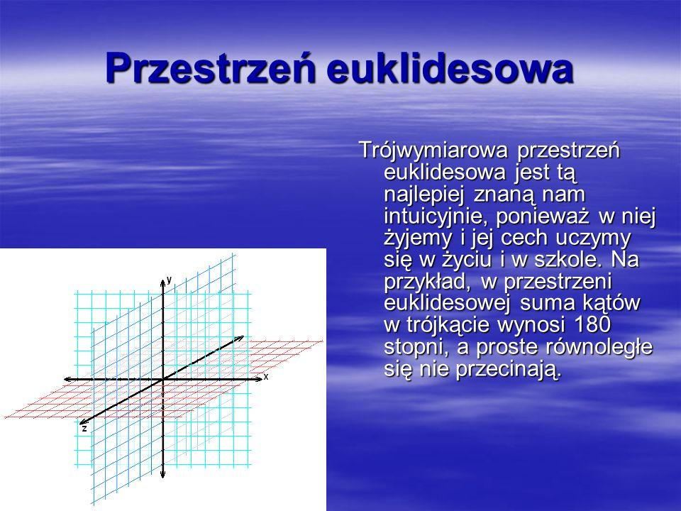 Przestrzeń euklidesowa Trójwymiarowa przestrzeń euklidesowa jest tą najlepiej znaną nam intuicyjnie, ponieważ w niej żyjemy i jej cech uczymy się w życiu i w szkole.