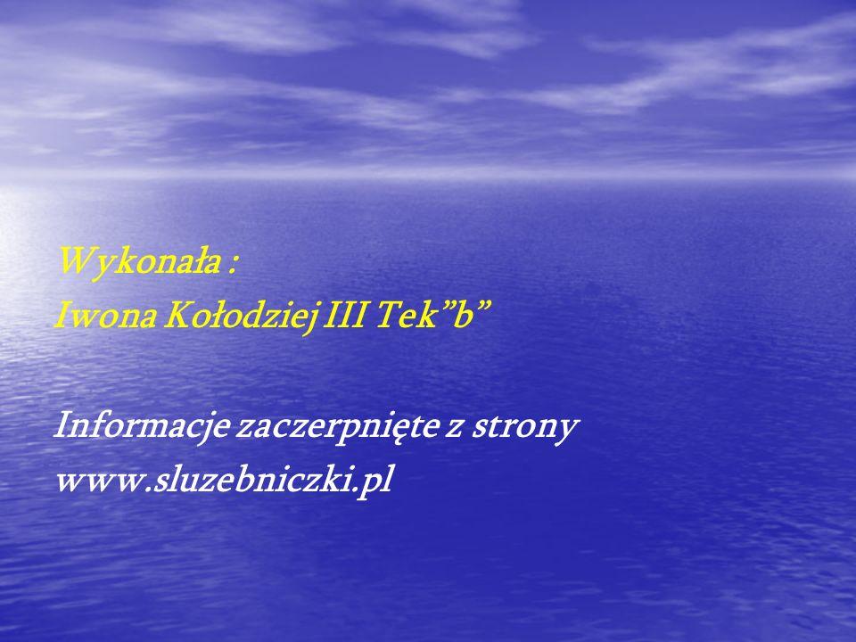 Wykonała : Iwona Kołodziej III Tekb Informacje zaczerpnięte z strony www.sluzebniczki.pl
