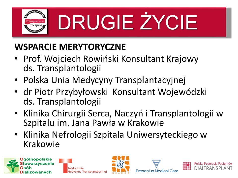 DRUGIE ŻYCIE WSPARCIE MERYTORYCZNE Prof. Wojciech Rowiński Konsultant Krajowy ds. Transplantologii Polska Unia Medycyny Transplantacyjnej dr Piotr Prz
