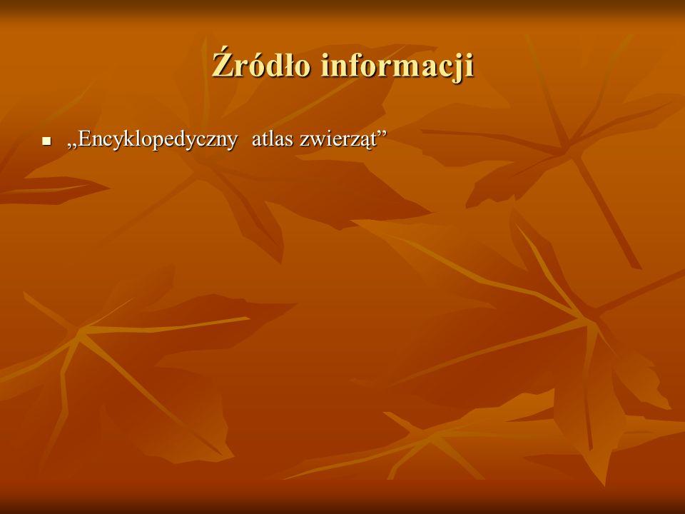 Źródło informacji Encyklopedyczny atlas zwierząt Encyklopedyczny atlas zwierząt