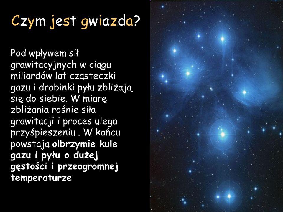 Czym jest gwiazda? Pod wpływem sił grawitacyjnych w ciągu miliardów lat cząsteczki gazu i drobinki pyłu zbliżają się do siebie. W miarę zbliżania rośn