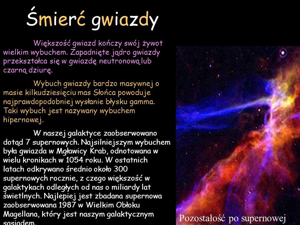 Śmierć gwiazdy Większość gwiazd kończy swój żywot wielkim wybuchem. Zapadnięte jądro gwiazdy przekształca się w gwiazdę neutronową lub czarną dziurę.