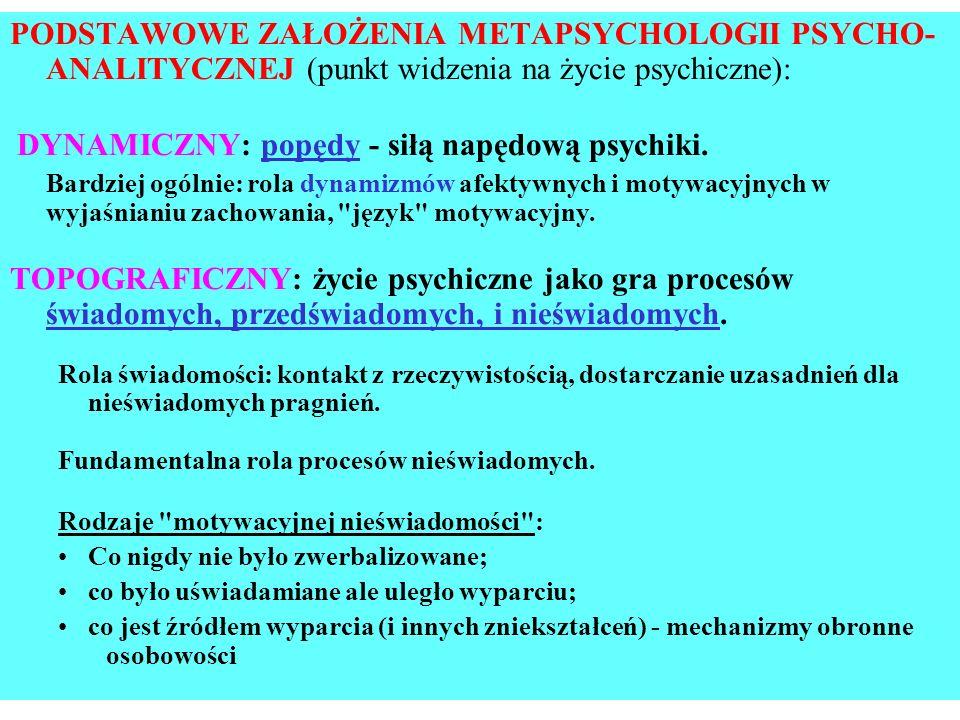 PODSTAWOWE ZAŁOŻENIA METAPSYCHOLOGII PSYCHO- ANALITYCZNEJ (punkt widzenia na życie psychiczne): DYNAMICZNY: popędy - siłą napędową psychiki. Bardziej