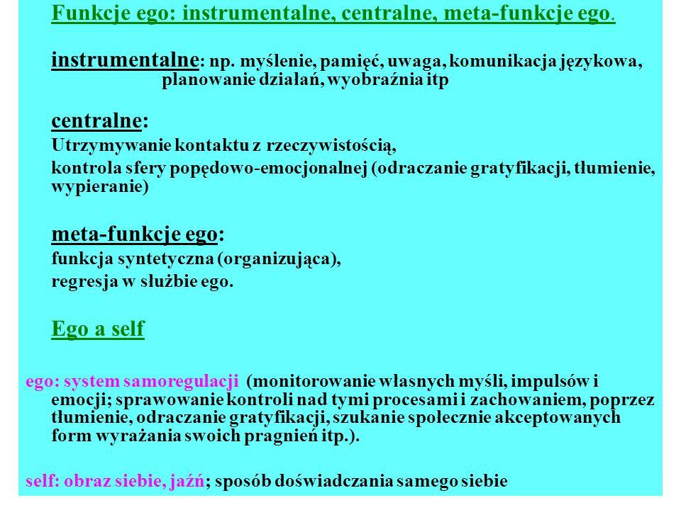 Funkcje ego: instrumentalne, centralne, meta-funkcje ego. instrumentalne : np. myślenie, pamięć, uwaga, komunikacja językowa, planowanie działań, wyob