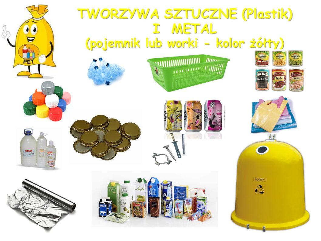 TWORZYWA SZTUCZNE (Plastik) I METAL (pojemnik lub worki - kolor żółty)