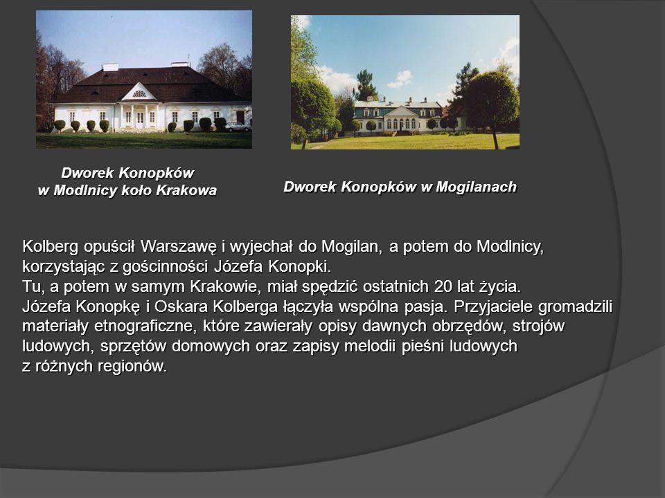 Dworek Konopków w Modlnicy koło Krakowa Kolberg opuścił Warszawę i wyjechał do Mogilan, a potem do Modlnicy, korzystając z gościnności Józefa Konopki.