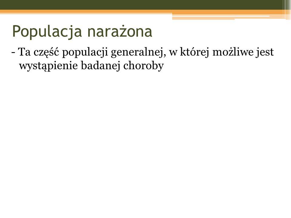 Populacja narażona - Ta część populacji generalnej, w której możliwe jest wystąpienie badanej choroby