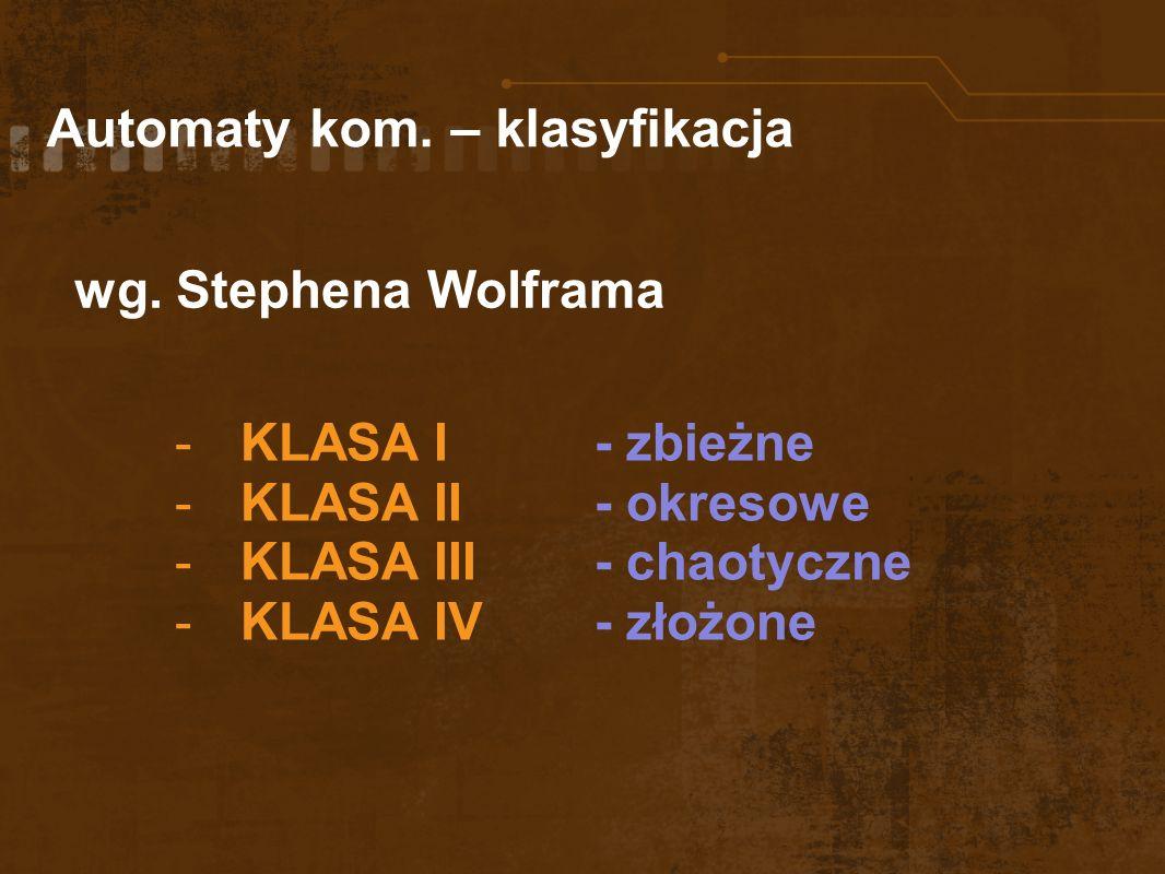 Automaty kom. – klasyfikacja -KLASA I- zbieżne -KLASA II- okresowe -KLASA III - chaotyczne -KLASA IV - złożone wg. Stephena Wolframa