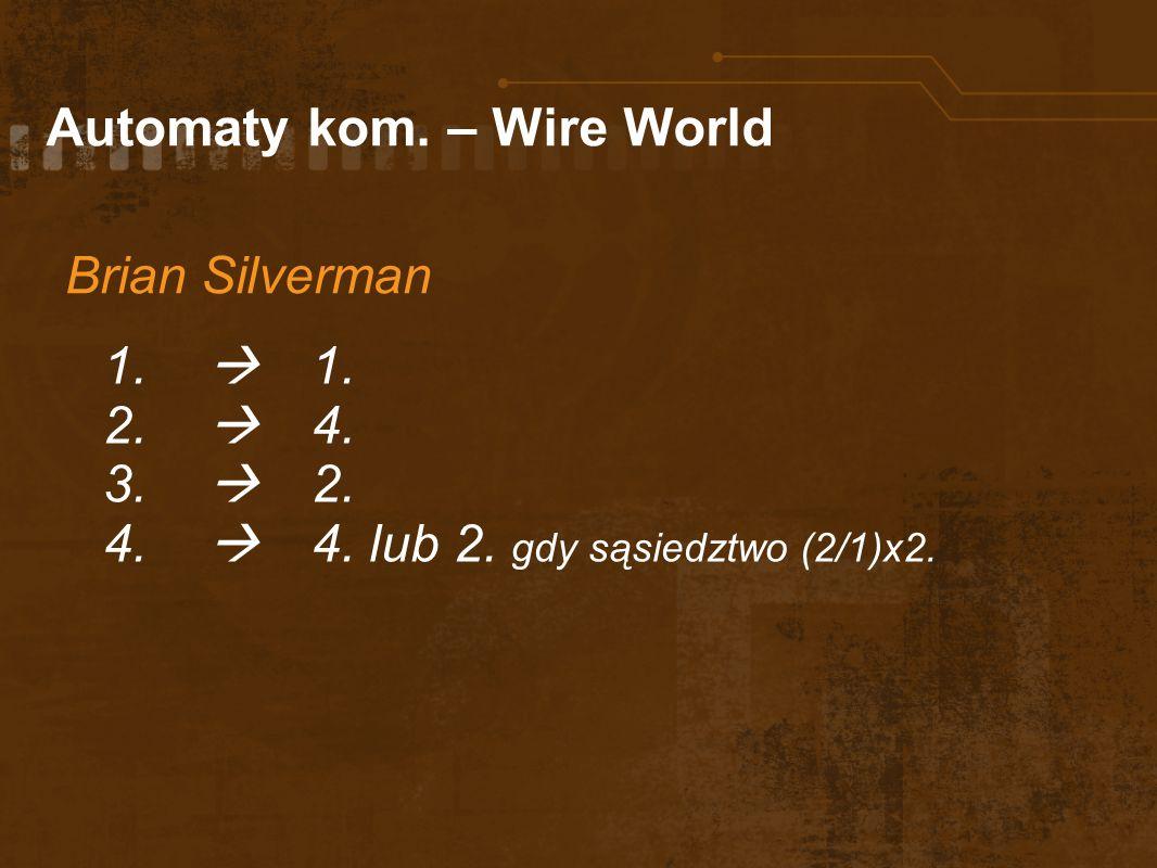 Automaty kom. – Wire World Brian Silverman 1. 2. 4. 3. 2. 4. 4. lub 2. gdy sąsiedztwo (2/1)x2.