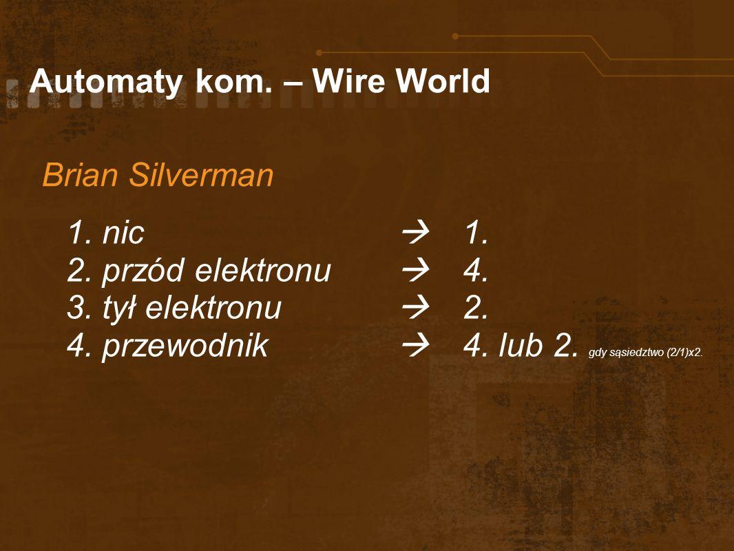 Automaty kom. – Wire World Brian Silverman 1. nic 1. 2. przód elektronu 4. 3. tył elektronu 2. 4. przewodnik 4. lub 2. gdy sąsiedztwo (2/1)x2.