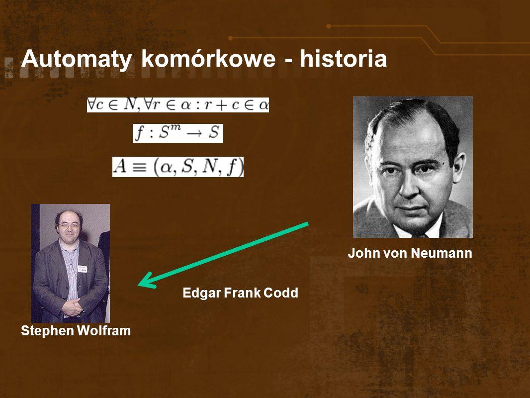 Automaty komórkowe - historia John von Neumann Edgar Frank Codd Stephen Wolfram