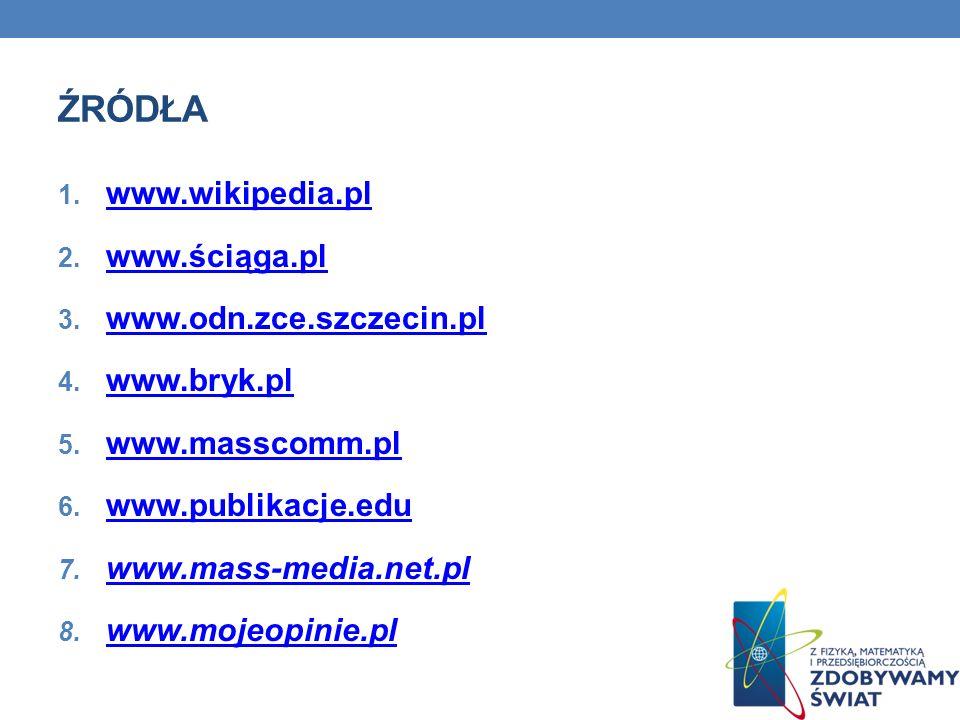 ŹRÓDŁA 1. www.wikipedia.pl www.wikipedia.pl 2. www.ściąga.pl www.ściąga.pl 3. www.odn.zce.szczecin.pl www.odn.zce.szczecin.pl 4. www.bryk.pl www.bryk.