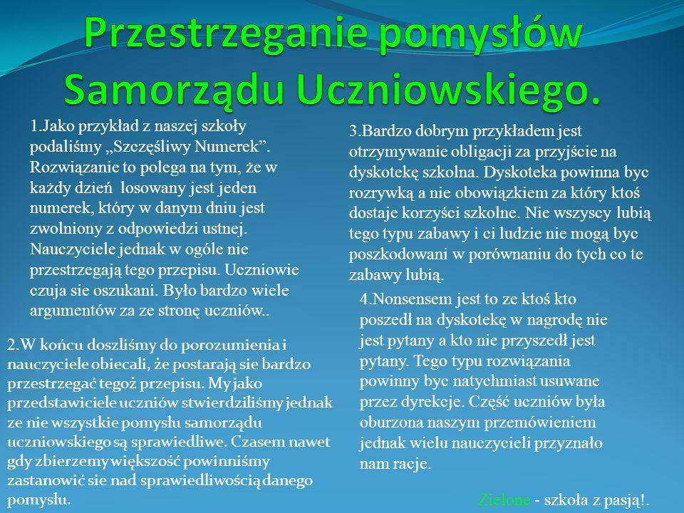 Aleksandra Jarosławska i Mateusz Sobol pod kierunkiem mgr Jacek Malicki Zielone - szkoła z pasją!.