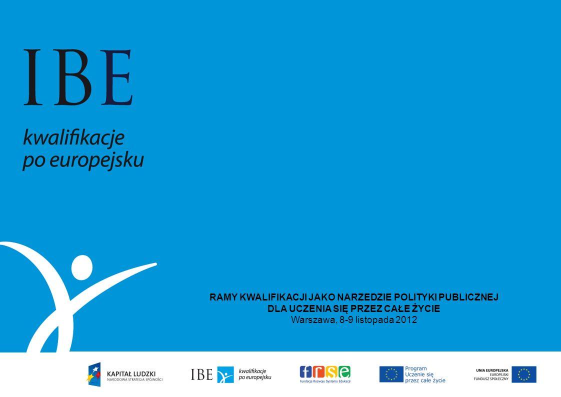 RAMY KWALIFIKACJI JAKO NARZEDZIE POLITYKI PUBLICZNEJ DLA UCZENIA SIĘ PRZEZ CAŁE ŻYCIE Warszawa, 8-9 listopada 2012