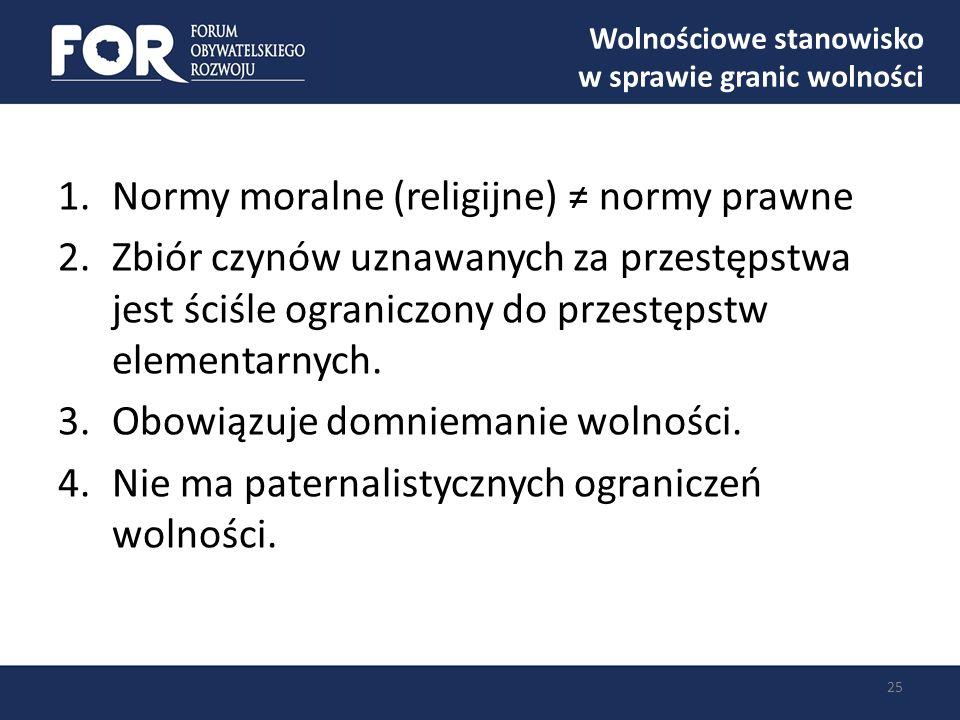Wolnościowe stanowisko w sprawie granic wolności 25 1.Normy moralne (religijne) normy prawne 2.Zbiór czynów uznawanych za przestępstwa jest ściśle ogr