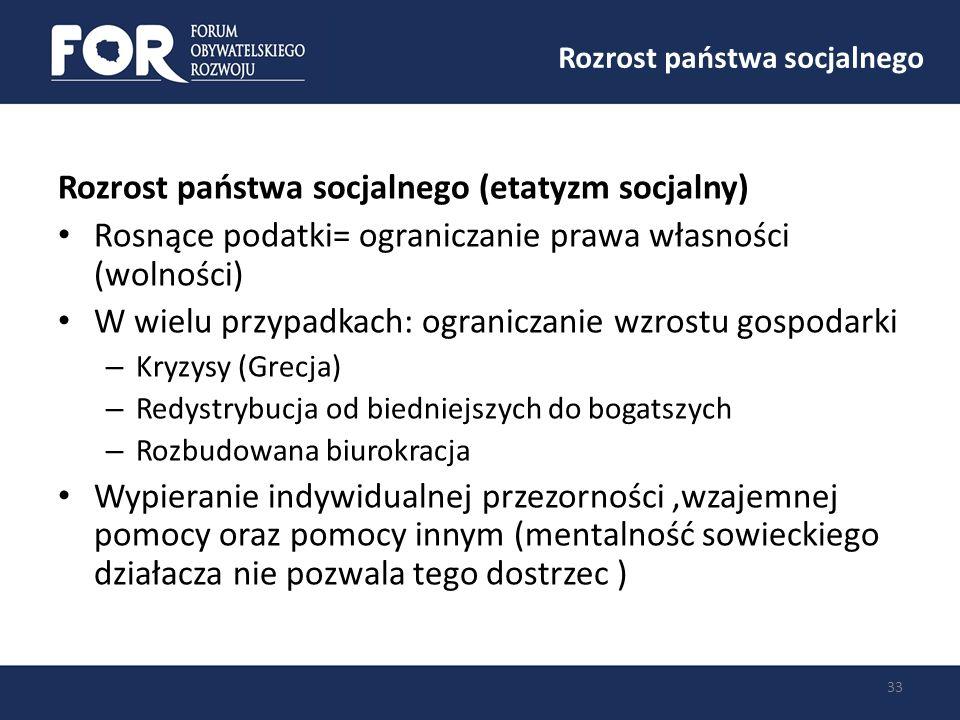 Rozrost państwa socjalnego 33 Rozrost państwa socjalnego (etatyzm socjalny) Rosnące podatki= ograniczanie prawa własności (wolności) W wielu przypadka