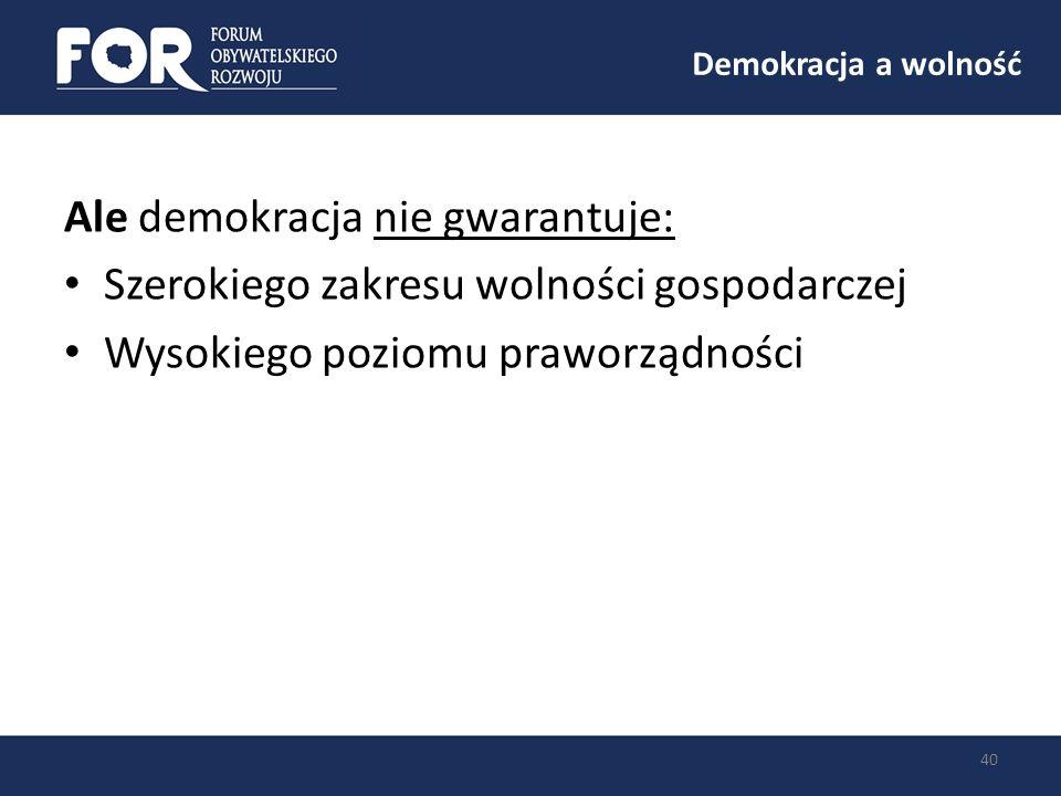 Demokracja a wolność 40 Ale demokracja nie gwarantuje: Szerokiego zakresu wolności gospodarczej Wysokiego poziomu praworządności