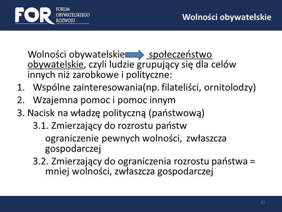 Wolności obywatelskie 42 Wolności obywatelskie społeczeństwo obywatelskie, czyli ludzie grupujący się dla celów innych niż zarobkowe i polityczne: 1.W