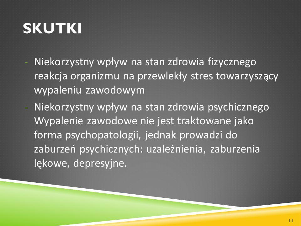 SKUTKI - Niekorzystny wpływ na stan zdrowia fizycznego reakcja organizmu na przewlekły stres towarzyszący wypaleniu zawodowym - Niekorzystny wpływ na stan zdrowia psychicznego Wypalenie zawodowe nie jest traktowane jako forma psychopatologii, jednak prowadzi do zaburzeń psychicznych: uzależnienia, zaburzenia lękowe, depresyjne.