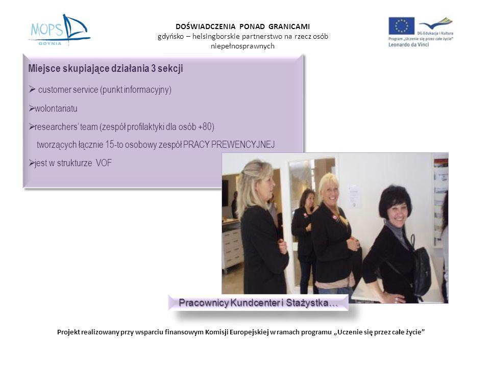 DOŚWIADCZENIA PONAD GRANICAMI gdyńsko – helsingborskie partnerstwo na rzecz osób niepełnosprawnych Projekt realizowany przy wsparciu finansowym Komisji Europejskiej w ramach programu Uczenie się przez całe życie Miejsce skupiające działania 3 sekcji customer service (punkt informacyjny) wolontariatu researchers team (zespół profilaktyki dla osób +80) tworzących łącznie 15-to osobowy zespół PRACY PREWENCYJNEJ jest w strukturze VOF Miejsce skupiające działania 3 sekcji customer service (punkt informacyjny) wolontariatu researchers team (zespół profilaktyki dla osób +80) tworzących łącznie 15-to osobowy zespół PRACY PREWENCYJNEJ jest w strukturze VOF Pracownicy Kundcenter i Stażystka…