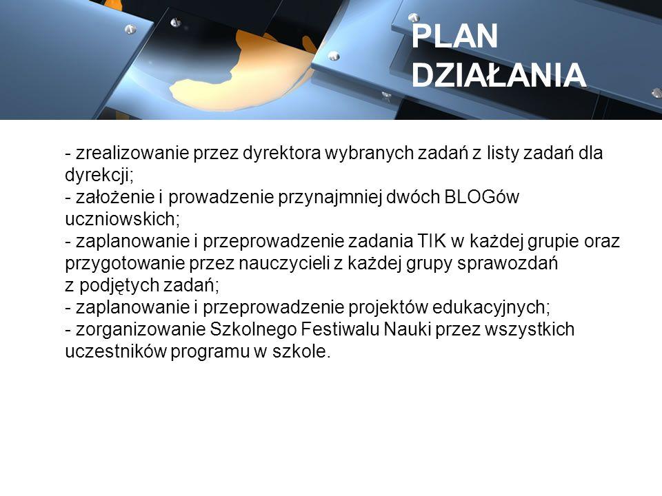 - zrealizowanie przez dyrektora wybranych zadań z listy zadań dla dyrekcji; - założenie i prowadzenie przynajmniej dwóch BLOGów uczniowskich; - zaplan