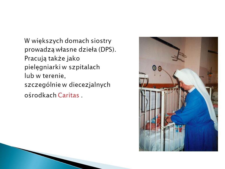 W większych domach siostry prowadzą własne dzieła (DPS). Pracują także jako pielęgniarki w szpitalach lub w terenie, szczególnie w diecezjalnych ośrod